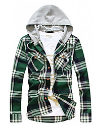 Men'S Hoodie Korea Style Plaids Casual Shirt