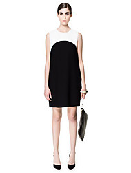 Women's Formal Shift Dress,Color Block Crew Neck Above Knee Sleeveless All Seasons