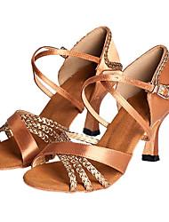 латинская / сальса настроить женщин сатин танцевальные туфли бальные сандалии