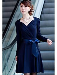 CA Korean Style Long Sleeve Abnehmen Kleid (Blau)
