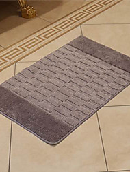 Bath Rug Wool Grey Brick Print