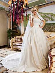Ball Gown Petite / Plus Sizes Wedding Dress-Ivory Chapel Train Queen Anne Lace / Satin