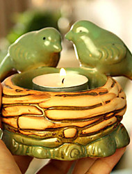 "5""H Country Style Green Bird Votive Ceramic Candle Holder"