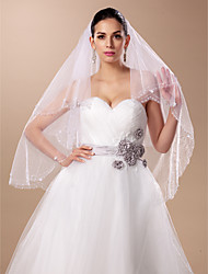 Wedding Veil Two-tier Fingertip Veils Tulle White / Ivory A-line, Ball Gown, Princess, Sheath/ Column, Trumpet/ Mermaid