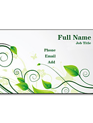 200pcs Personalized 2 Sides Printed Matte Film Leaves Pattern Business Card