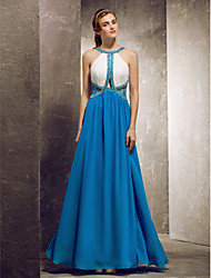 Sheath / Column Jewel Neck Floor Length Chiffon Bridesmaid Dress with Beading Lace by TS Couture®