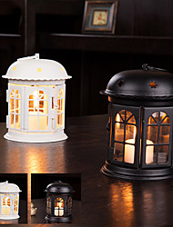 "6""H Country Style House Type Lantern Iron Candle Holder"