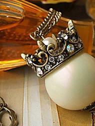 Vintage Couronne Bog pendentif perle
