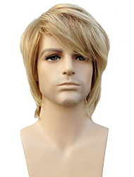 Capless High Quality Synthetic Short Straight Platinum Blonde Man'S Wigs