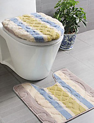 Bath Rug 3-Piece Set Modern Stripe Print