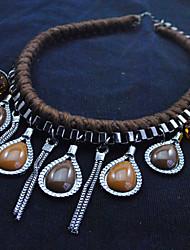 Mich heiraten Frauen Weinlese-lange Quaste Harz für Frauen kurze Halskette (Royal Blue, Kaffee)