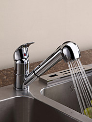 Contemporary Chrome One Hole Single Handle Pullout Spray Deck Mounted Kitchen Faucet