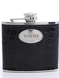 Personalized Gift Turtle Grain Pattern Black 5oz PU Leather Capital Letters Flask