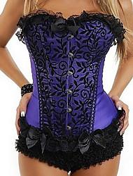 cetim volta lace-up corset shapewear com arcos e rendas (mais cores) sexy lingerie shaper