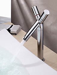 Contemporary Centerset Ceramic Valve Two Handles One Hole with Chrome Bathroom Sink Faucet