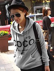 Qianxunyi lourds Casual Hoodies à manches longues avec Coco Imprimer (Gray)