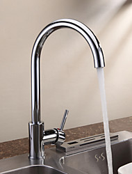 Contemporary Centerset Ceramic Valve Single Handle One Hole with Chrome Kitchen faucet