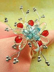 Plum Acrylique Perles Rond de Serviette, Dia4.2-4.5cm Ensemble de 12