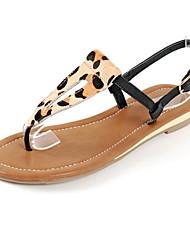 Kunstleder Flache Heel T-Strap Sandaletten Damenschuhe