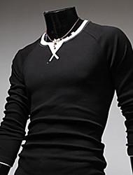 KALO Big Size Round Collar Long Sleeve T-Shirt(Black)