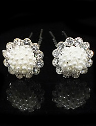 Women's Rhinestone / Alloy / Imitation Pearl Headpiece-Wedding / Special Occasion Hair Pin 2 Pieces