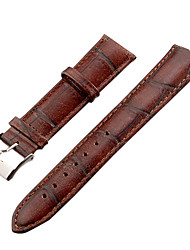Unisex 20 millimetri Craquelure Grain Leather Watch Band (Brown)