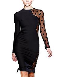 Contrast da donna maglia matita elegante Midi Vestito
