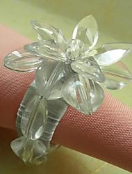 Transparante Bloemen Acryl Kralen Servetring, Dia4.2-4.5cm set van 12