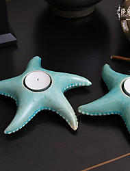 "7""H Antique Style Blue Starfish Votive Ceramic Candle Holder"