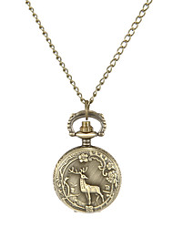 Women's Deer Pattern Vintage Alloy Quartz Analog Necklace Watch Cool Watches Unique Watches Fashion Watch