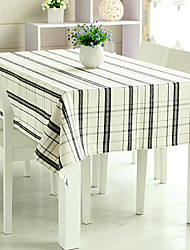 """Black and White Grids Table Cloth, Linen/Rayon 80""""*56"""""""