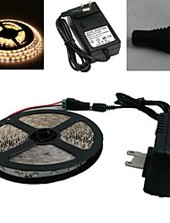 Waterproof 5M 300X3528 Smd Warm White Led Light Strip e Connector e AC110-240V para Dc12V3A Transformer