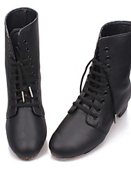 Non Customizable Women's/Men's Dance Shoes Tap Leather Chunky Heel Black
