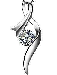 1 Carat Silk Women SONA Diamond Pendant White Gold Plated Excellent Cut