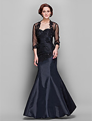 Formal Evening / Military Ball / Wedding Party Dress Trumpet / Mermaid Sweetheart Floor-length Taffeta / Tulle withBeading / Flower(s) /