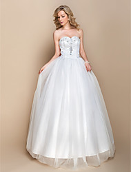 A-line Wedding Dress - Ivory Floor-length Sweetheart Organza