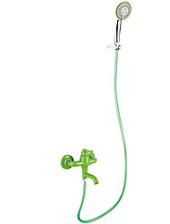Contemporary Green Painting Finish Three Holes Single Handle Sidespray Waterfall Shower Faucet