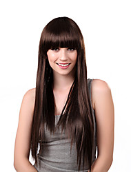 Capless Long Straight Brown Synthetic Wig Full Bang