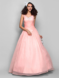 TS Couture Prom Formal Evening Dress - Open Back Ball Gown Straps Floor-length Organza with Beading Criss Cross Ruching