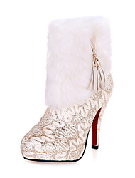 Women's Shoes Lace Spring / Summer / Fall Fashion Boots Wedding Stiletto Heel Red / Gold