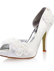 Peep Toe Stiletto Heel Satin Pumps with Imitation Pearl Wedding Women's Shoes(More Colors)