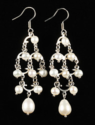 Elegant Alloy Silver Plated with Pearl Women's Earrings