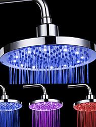 Acabado en cromo Ronda ducha de 3 colores con control de temperatura LED Cabeza