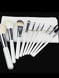 Pro haute qualité 10 PC naturel de cheveux de chèvre pinceau de maquillage avec le blanc de poche