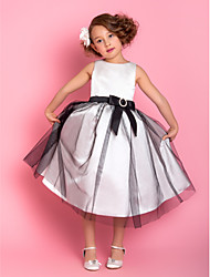 Lanting Bride ® A-line Tea-length Flower Girl Dress - Satin / Tulle Sleeveless Jewel with Bow(s) / Crystal Brooch