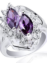 Lady Genuine S925 Sterling Silver Ring With Double Marquise Cubic Zirconia