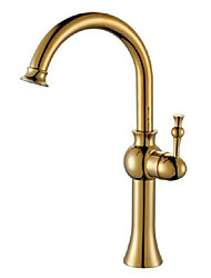 Vessel Single Handle One Hole in Antique Brass Bathroom Sink Faucet