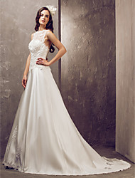 Lanting Bride® A-line Petite / Plus Sizes Wedding Dress - Elegant & Luxurious / Glamorous & Dramatic Open Back Court Train JewelSatin /