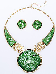 Rich Long Women's Green Necklace With Earring
