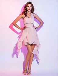 Homecoming Cocktail Party/Homecoming/Holiday Dress - Pearl Pink Plus Sizes A-line Halter Short/Mini Chiffon